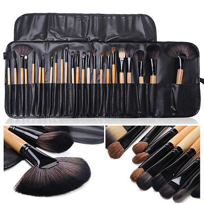 New 24 Pieces Black Make up Brushes