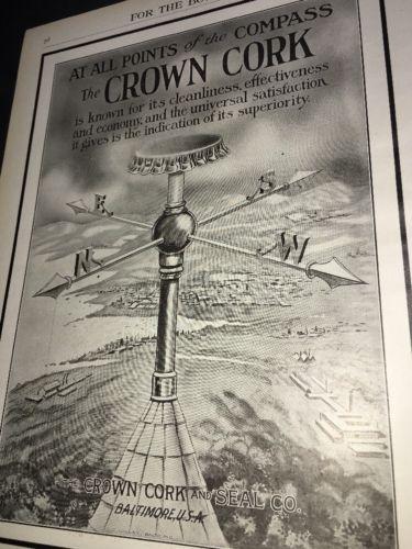 Crown Cork Seal Beer Bottle Cap Ad 1908 Weather Vane Compass Graphic Art