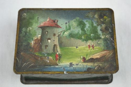 Antique Painted Metal Box - Jewelry Trinket Toleware