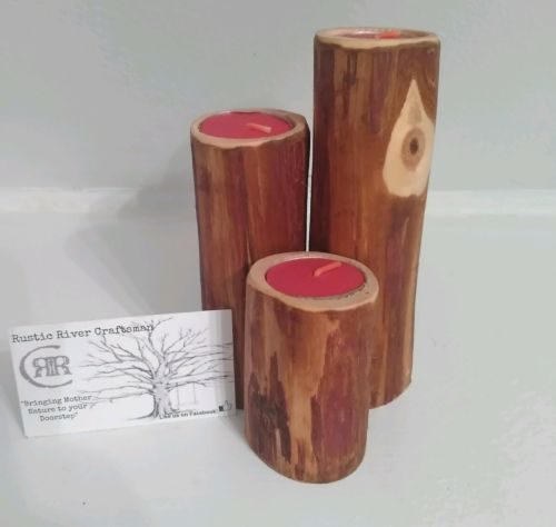 SET OF THREE RUSTIC WOODEN CANDLE HOLDERS! CEDAR! WEDDINGS! LOG CABIN DECOR!