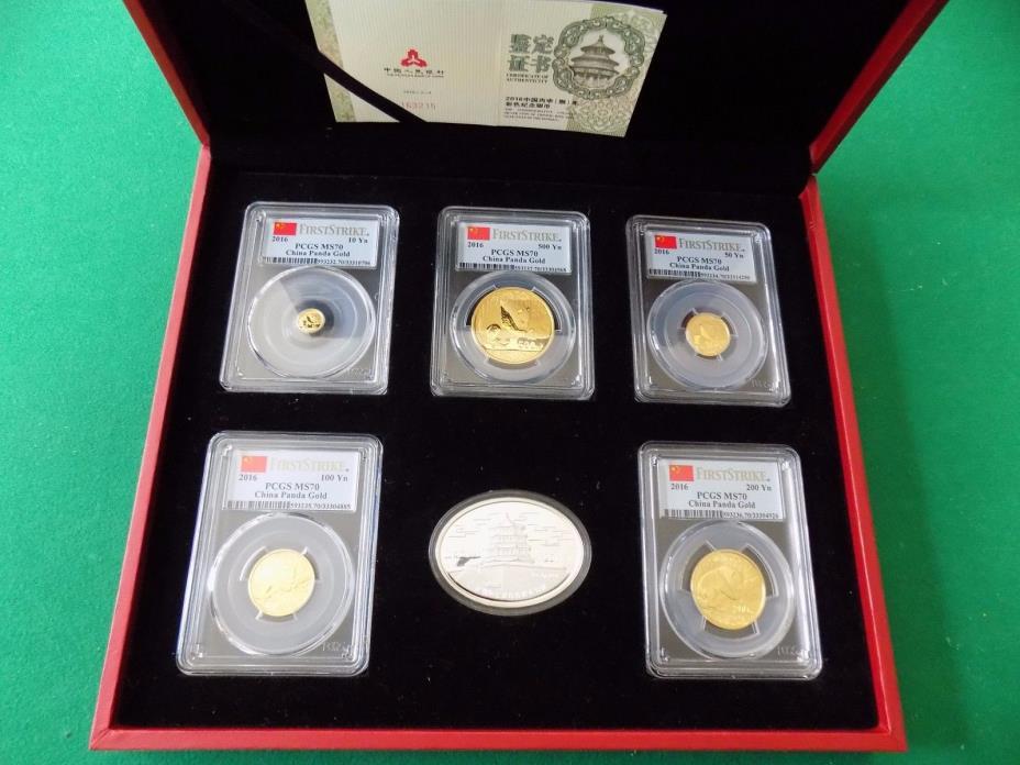 2016 CHINA ~ 3 OZ GOLD&SILVER PANDA PRESTIGE 6 COINS SET PCGS MS 70 FIRST STRIKE