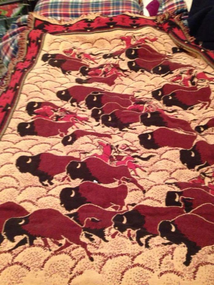 Western Blanket Afghan Bob Timberlake 100% Cotton Made  USA