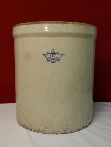 Vintage 5 Gallon Ransbottom Blue Crown Pickling Stoneware Crock