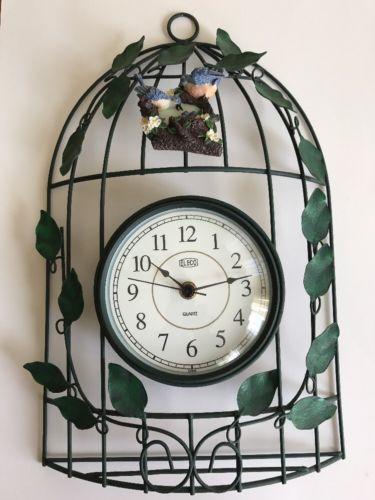 ELECO GREEN WIRE & VINE LEAVES WITH BLUEBIRD NEST QUARTZ BIRD CAGE WALL CLOCK