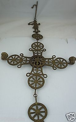VINTAGE BRASS CELTIC GOTHIC CROSS CANDLESTICK FIGURINE HANGING METALWARE