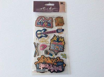 Sticko Fun Rock N Roll Stickers Raised Dimensional