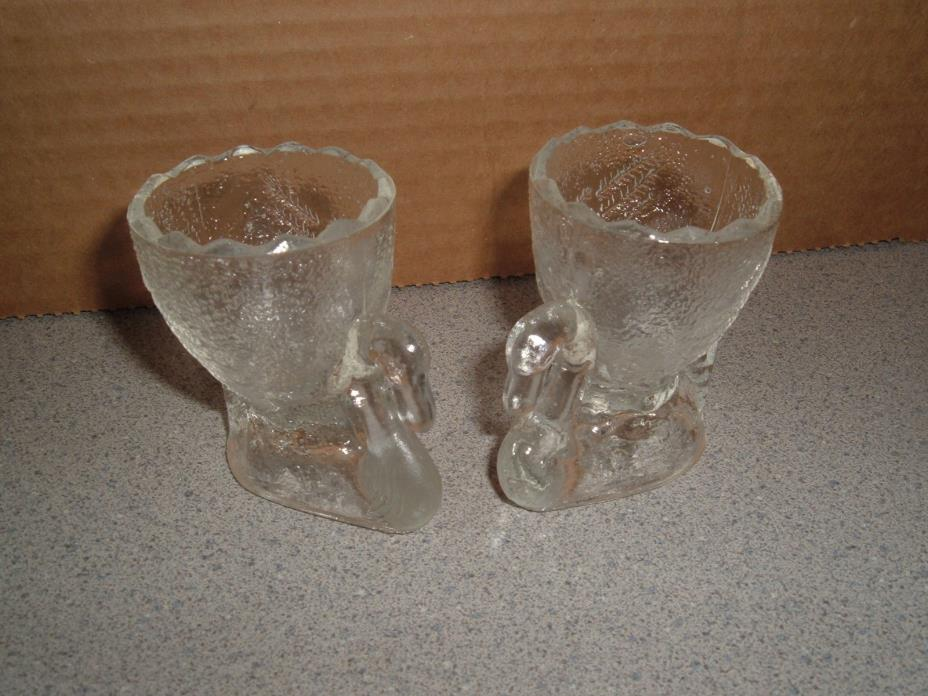 2 clear glass swan EGG CUPS  or toothpick holder