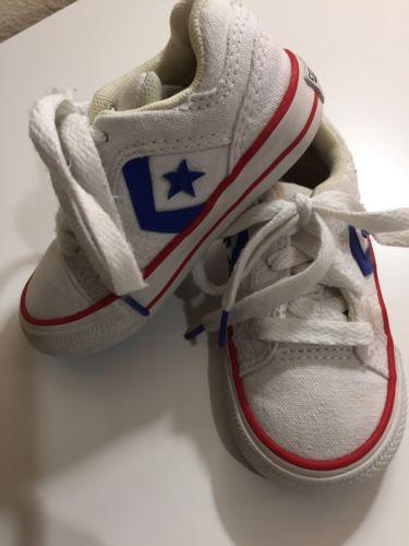 White Toddler Converse Shoes Star Player EV Size 6 Blue Chevron HTF Boys Girls