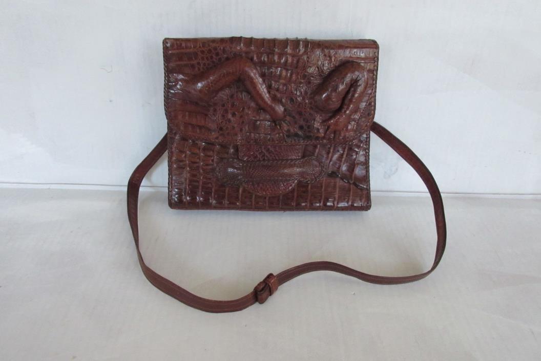 Vintage Croc Leather Shoulder Bag/ Retro Fashion Accessories Shoulder Bag