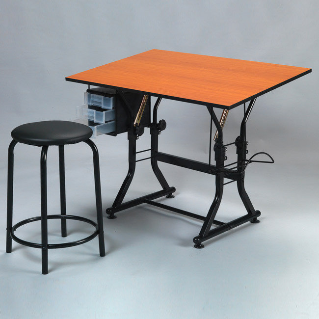 Martin Ashley Wood Creative Art Drafting and Hobby Crafting Table with Stool Set
