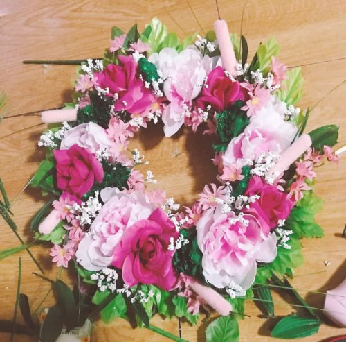 vintage silk roses and Flowers wreath home decor