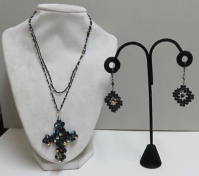 Lori Lori Nordstrom Sterling Wire Wrap Swarovski Crystal Cross Necklace/Earrings