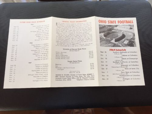 1964 NCAA OHIO STATE BUCKEYES COLLEGE FOOTBALL SCHEDULE WOODY HAYES