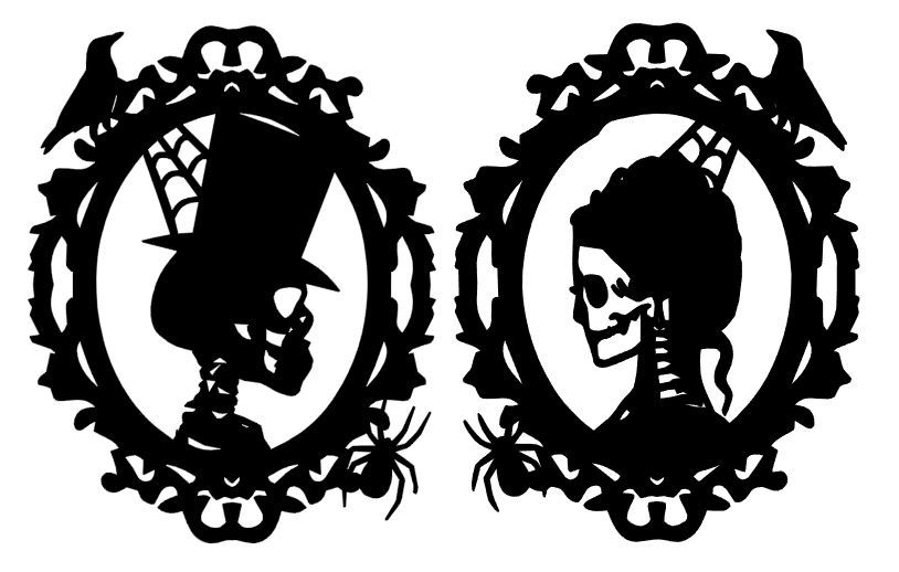 4-6 Halloween HIM HER SKELETON FRAME Silhouette Die cut Embellishment