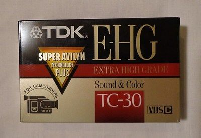 TDK E-HG TC-30 Extra High Grade VHS-C Camcorder Tape NEW. Lot of 2