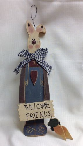 Primitive/Rustic SPring/Easter/Bunny Wooden Welcome Sign