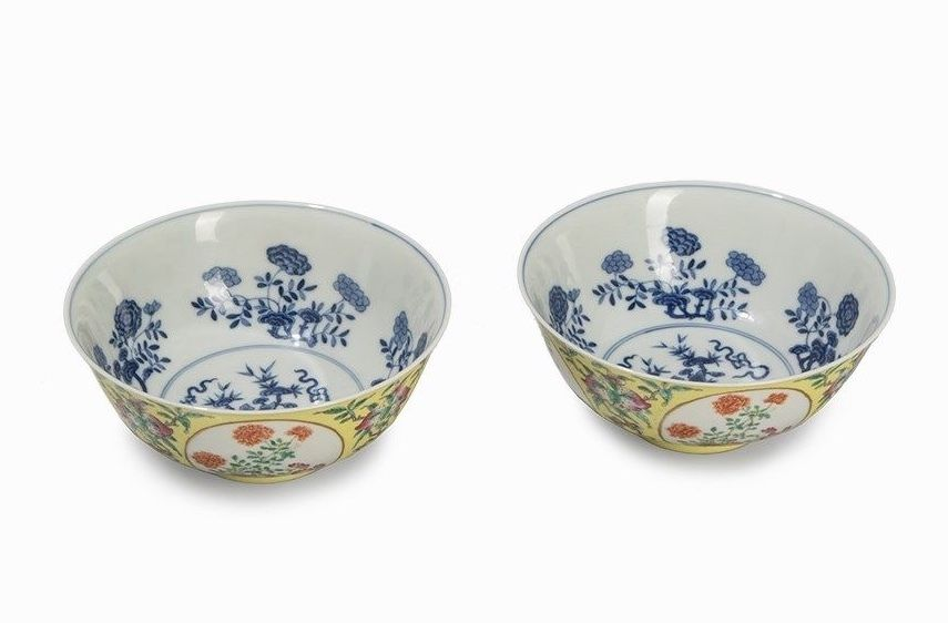 Pair of Yellow Ground Medallion Bowls with Flowers China, Daoguang period 1821
