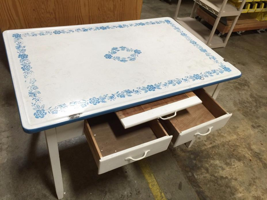Vintage Retro Antique Enamel Top Table