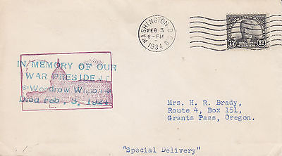 Cover: Special Delivery, In Memory of Woodrow Wilson, Feb 3, 1934 (S4441)