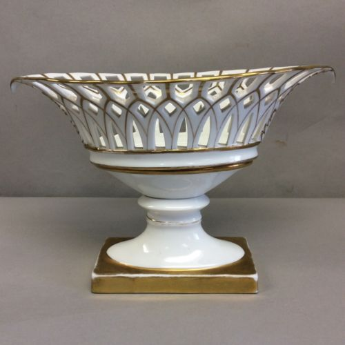 French Old Paris Reticulated Basket Centerpiece Compote 10 3/8