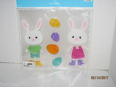 Large Pack Easter Spring Gel Window Clings Bunny Rabbits Colorful Eggs  NIP