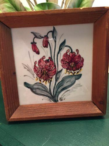 Vintage SOMAG MEISSEN Germany Tile Lilies Signed LS Antique Framed Wall Decor