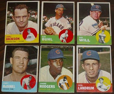 Lot of  6   1963  Topps Chicago Cubs Baseball Cards