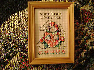 FRAMED NEEDLEPOINT PICTURE  WALL HANGING DECOR  BUNNY RABBIT  EASTER GIFT
