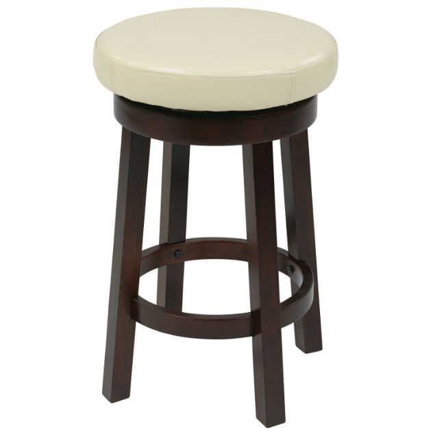 Wooden Swivel Bar Stools Backless 24 Inch Counter Height White Faux Leather Seat