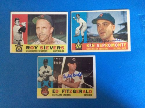 1960 Topps 3-Card Autograph Lot. Sievers, Aspromonte, Fitzgerald.