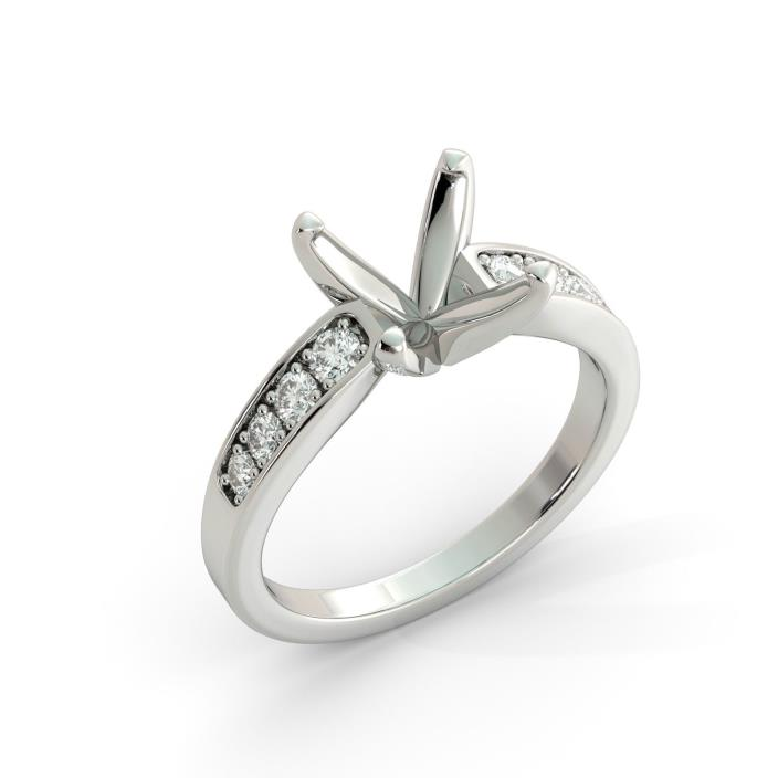 Princess Graduated Round Semi Mount Diamond Engagement Ring Real Platinum