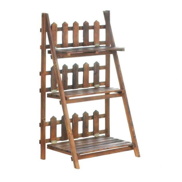 Wooden Picket Fence Design Three Tier  Shelf Plant Stand