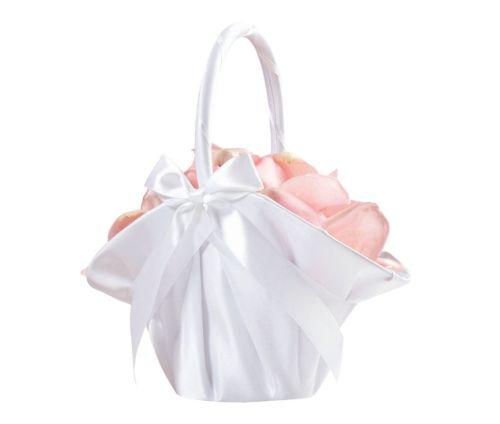 Brand New Lillian Rose Large Satin Flower Basket - White