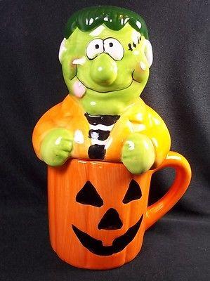 Jack o' Lantern mug with green MONSTER cover lid 8 oz 6.5