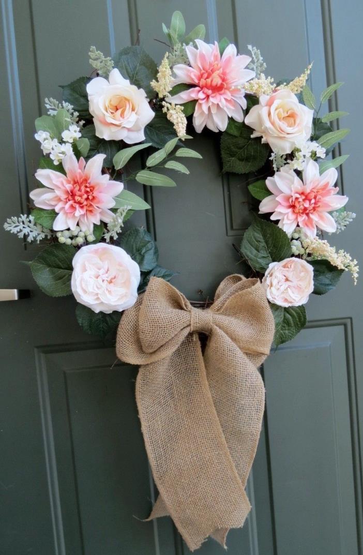 Spring, summer, grapevine wreath, roses, dahlias, burlap bow, home decor