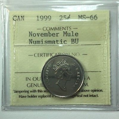 1999 Canadian Twenty-Five Cent Coin ICCS Graded MS-66 November Mule; NBU