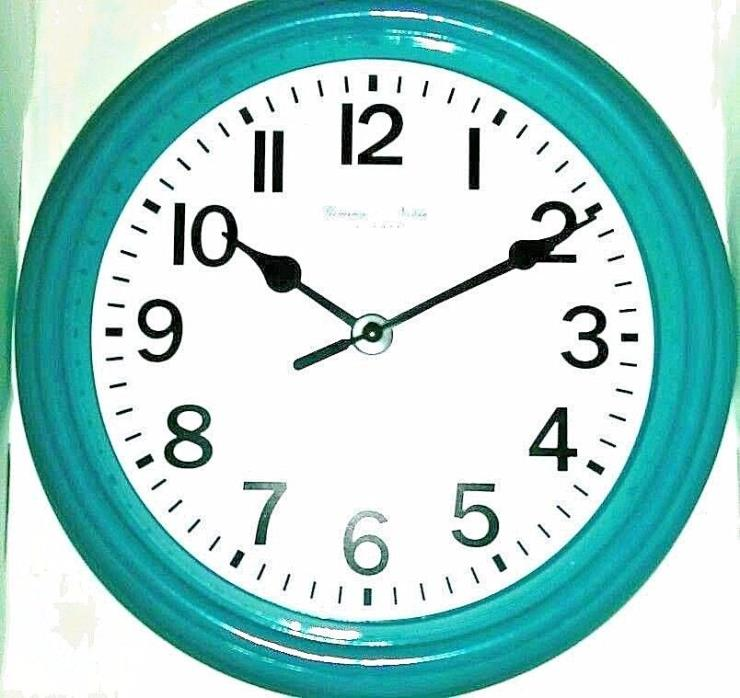 Sterling & Noble Decorative Quartz Wall Clock 8.75 in. Plastic Construction Teal