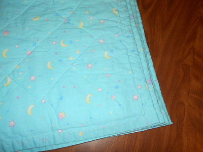 Baby Quilt 29 X 25 ADORABLE MOON AND STARS BACK
