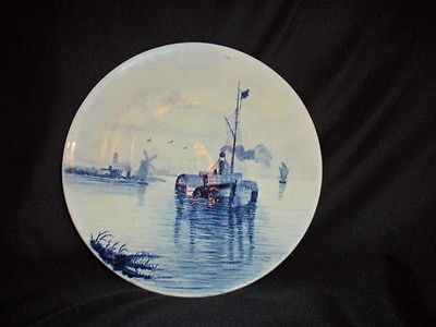 Villory & Boch Delft Plate with Ship and Windmill