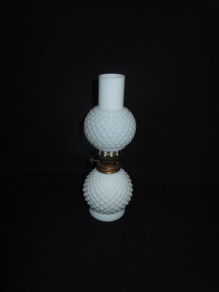 Antique Miniature Milk Glass Hobnail Oil Lamp