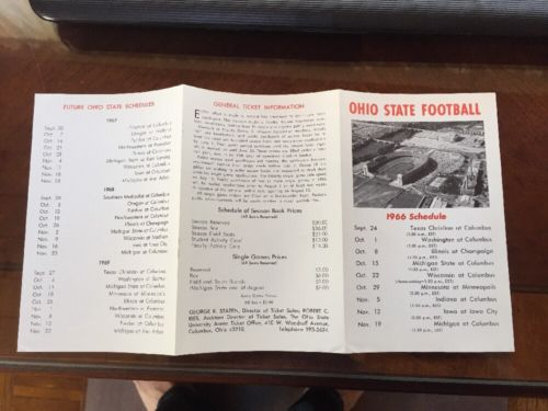 1966 NCAA OHIO STATE BUCKEYES COLLEGE FOOTBALL SCHEDULE WOODY HAYES
