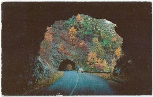 Western North Carolina Blue Ridge Parkway Double Tunnels Vintage Postcard NC