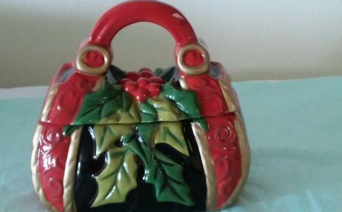 David's Collectible burgundy christmas cookie jar  season
