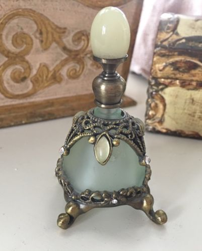 Antique Mini Perfume Bottle Green OPALINE & SatIn Glass Filigree W/cabochons