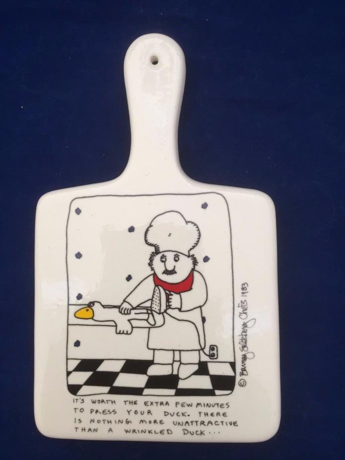 Vintage porcelain Barney Saltberg Chefs 1983 trivet Press Your Duck comic cook