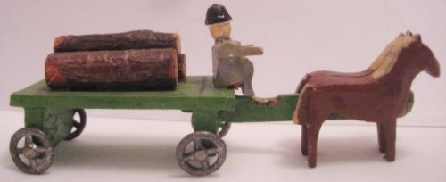 Old Wooden German Putz Horse Drawn Log Wagon for Christmas Village Saw Mill