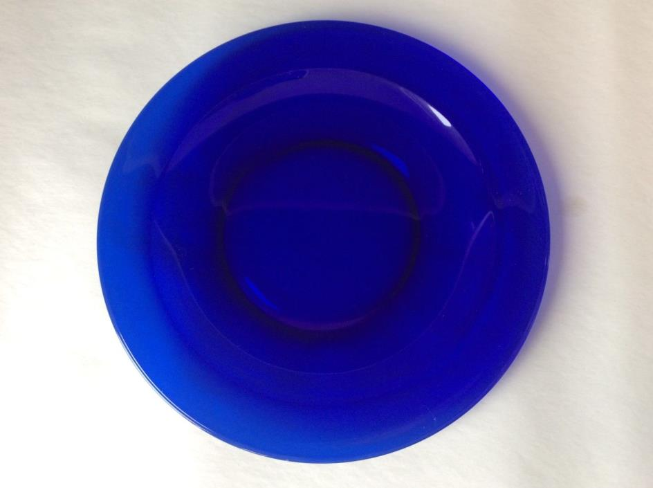 Vintage Cobalt Blue Glass Dinner Plate Dish Mid Century