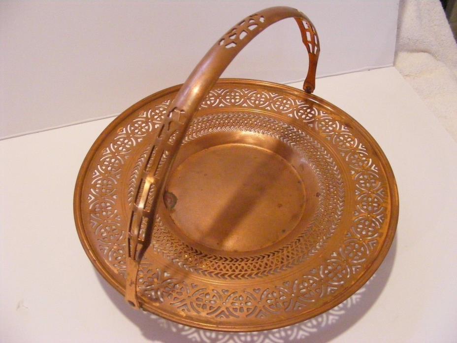 Vintage Manning Bowman Copper Bride's Basket