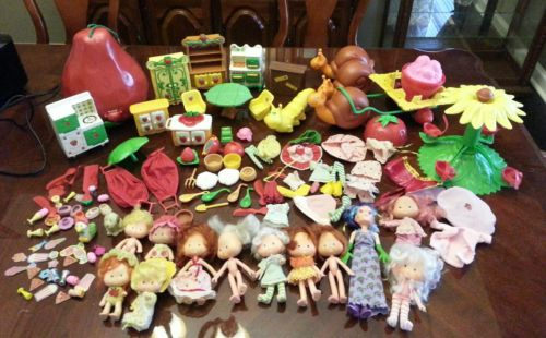 Vintage Strawberry Shortcake Dolls Carry Case Snail Merry go Round Kitchen