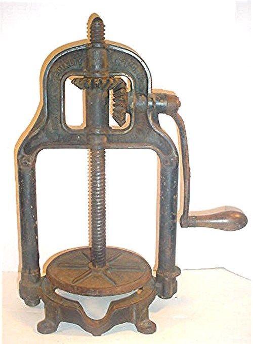 ANTIQUE 1897 6 QT NATIONAL SPECIALTY MFG CO SAUSAGE  STUFFER  FRUIT PRESS FRAME